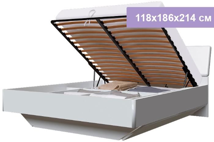 Двуспальная кровать Интердизайн Белла New белый/белый 118x186x214 см (подъемный механизм)