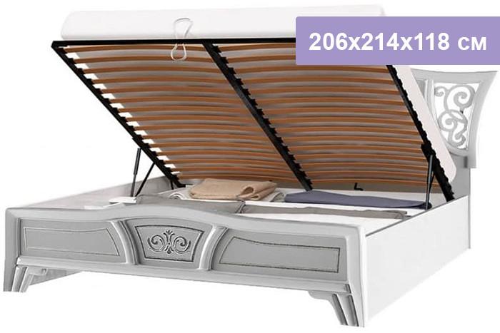 Двуспальная кровать Интердизайн Винтаж белый/белый 206x214x118 см (подъемный механизм)