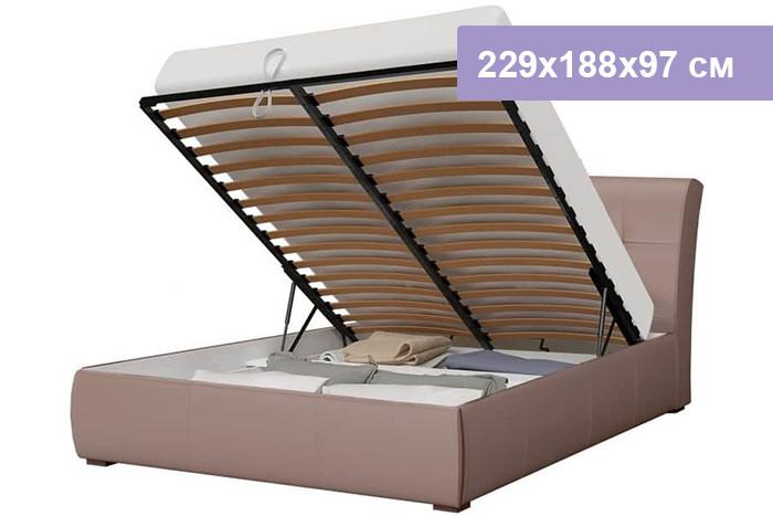 Двуспальная кровать Интердизайн Бьянка коричневый/коричневый 229x188x97 см (подъемный механизм)
