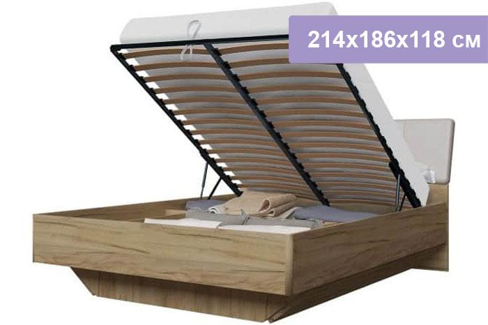 Двуспальная кровать Интердизайн Тоскано дуб крафт/капучино 214x186x118 см (подъемный механизм)