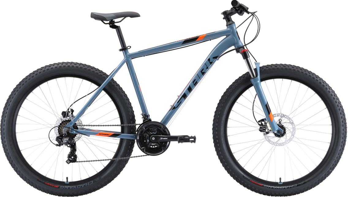 """Велосипед Stark Hunter 27.2+HD (2020) серый/черный/оранжевый 27,5""""/18"""""""