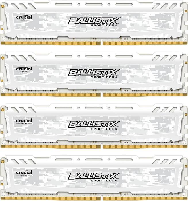 Память Crucial Ballistix Sport LT DIMM DDR4 4x8Gb 2666MHz White