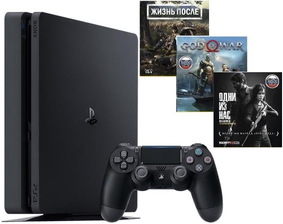 Игровая приставка Sony PlayStation 4 Slim 1Tb Black + Days Gone + God of War + The Last of Us