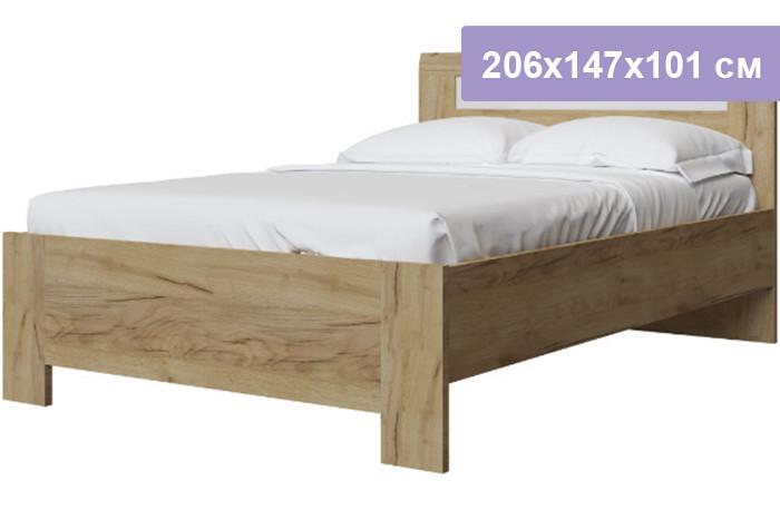 Двуспальная кровать Интердизайн Тоскано Лайт дуб крафт/белый 206x147x101 см (ортопедическое основание)