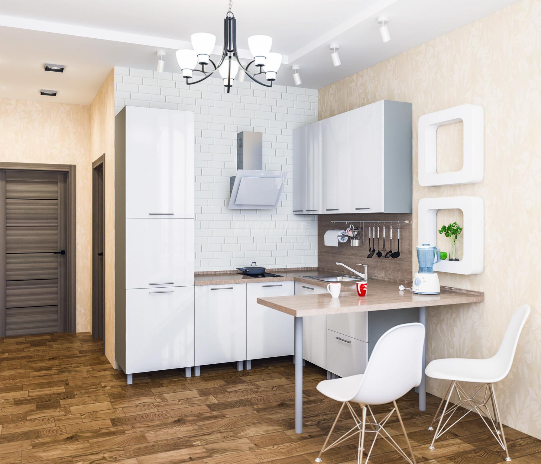 Кухня Столплит Анна алюминий/белый глянец/бордолино 215x160 см