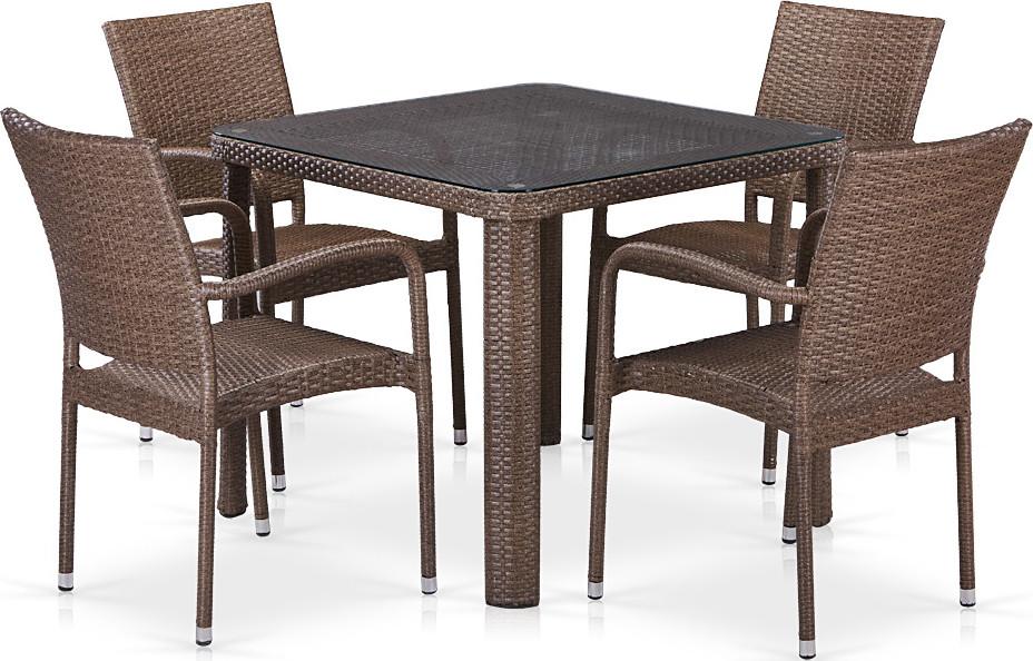 Комплект мебели Афина-Мебель T341B/Y376-W773 4Pcs коричневый