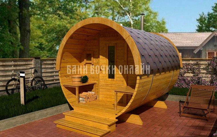 Баня-бочка «Мини» 250x200 см (с крыльцом)