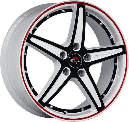 """Комплект дисков Yokatta Model-11 6,5jx16"""" 4/108 ET31 D65,1 W+B+RS+BSI/белый + черный + красная полоса по ободу+черная полоса по ободу внутри"""