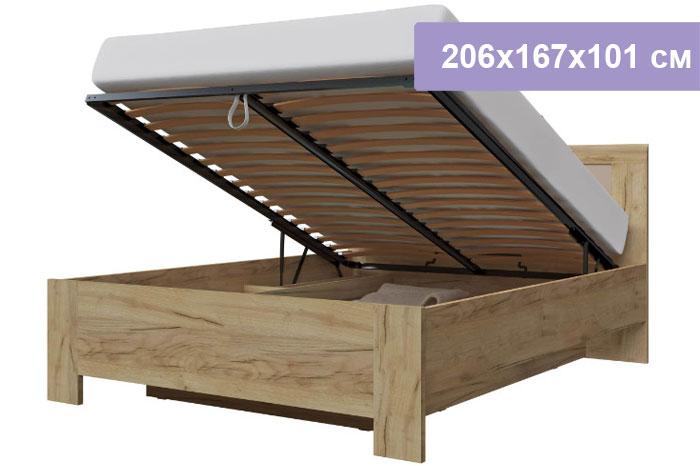Двуспальная кровать Интердизайн Тоскано Лайт дуб крафт/белый 206x167x101 см (подъемный механизм)