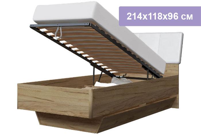 Односпальная кровать Интердизайн Тоскано дуб крафт/белый 214x118x96 см (подъемный механизм)