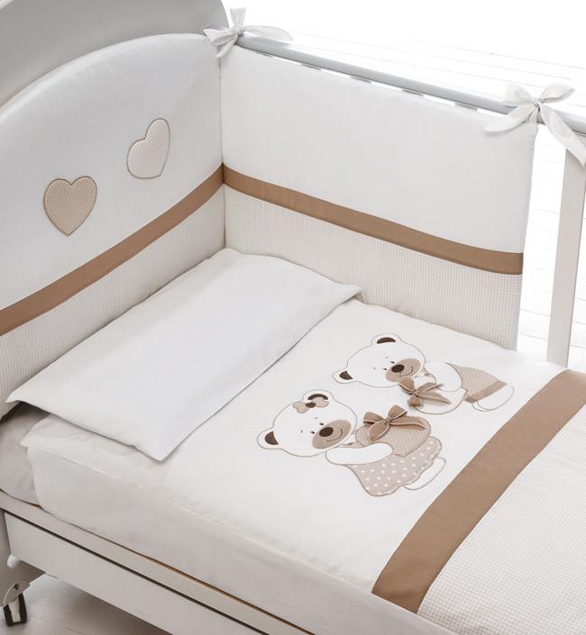 Постельное белье Baby Expert Bon Bon белый/серо-бежевый (с одеялом)