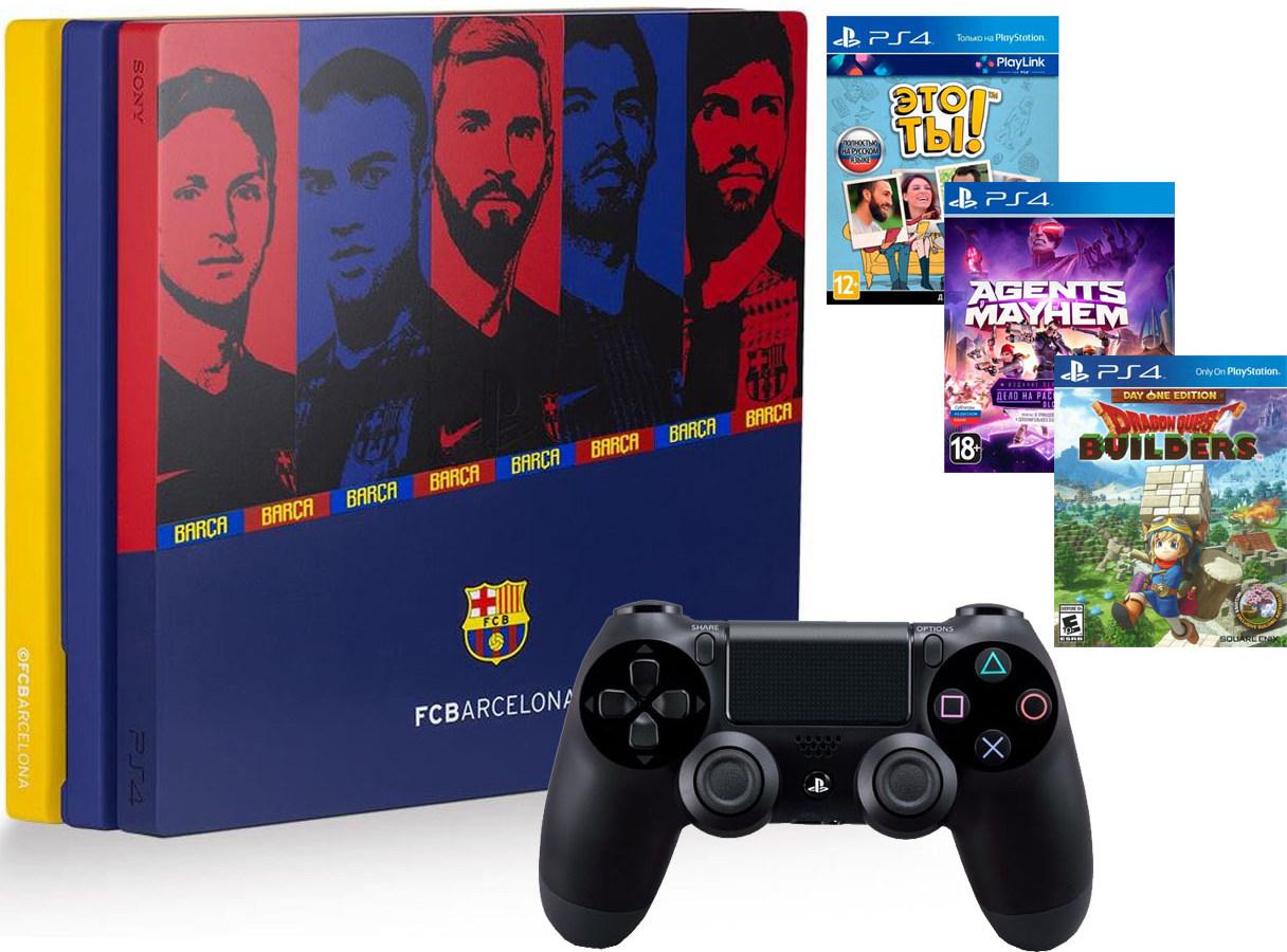 Игровая приставка Sony PlayStation 4 Pro 1Tb Барселона Камп Ноу + Sony DualShock 4 v2 Black + 3 игры