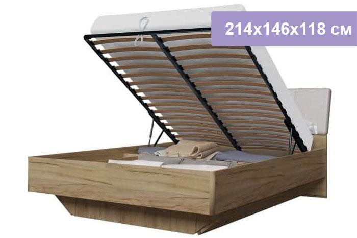 Двуспальная кровать Интердизайн Тоскано дуб крафт/капучино 214x146x118 см (подъемный механизм)