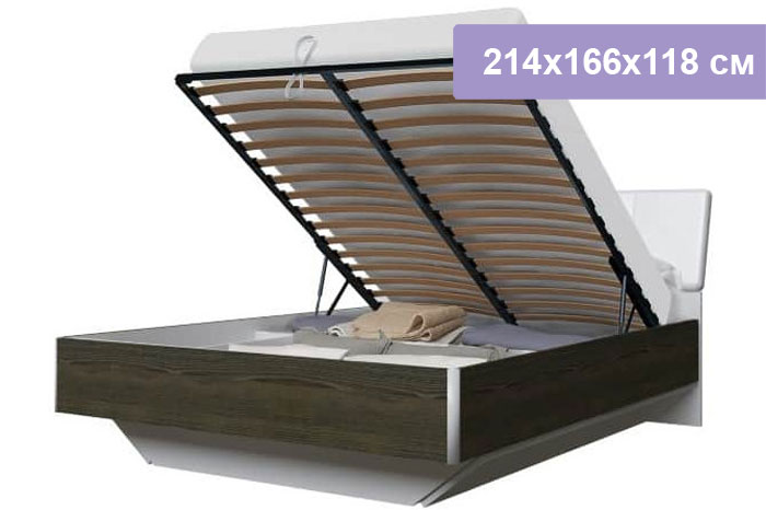 Двуспальная кровать Интердизайн Тоскано ясень темный/белый 214x166x118 см (подъемный механизм)