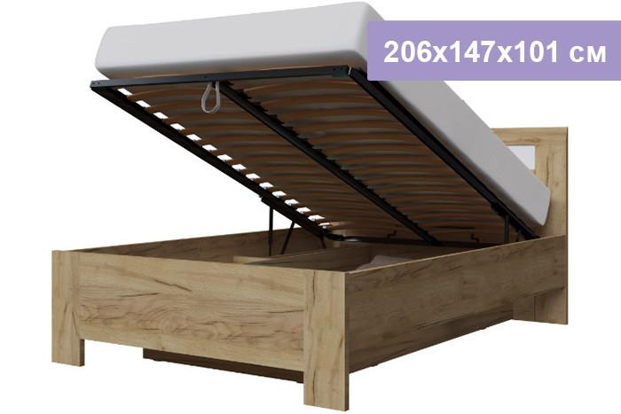 Двуспальная кровать Интердизайн Тоскано Лайт дуб крафт/белый 206x147x101 см (подъемный механизм)