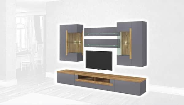 Стенка Интердизайн Дубай светло-коричневый/серый 1990x2900x500 (композиция 4)