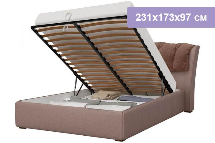 Двуспальная кровать Интердизайн Моника коричневый/коричневый 231x173x97 см (подъемный механизм)