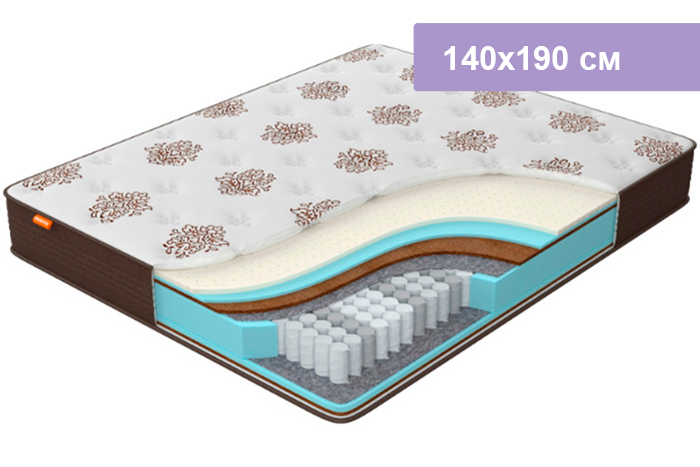 Матрас Орматек Comfort Duos Middle/Hard коричневый 140х190 см