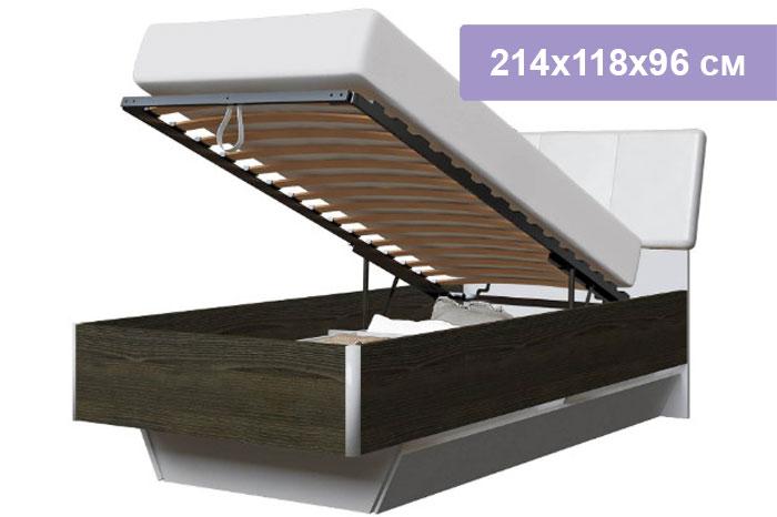 Односпальная кровать Интердизайн Тоскано 32.66.AdW ясень т./белый 214x118x96 см (подъемный механизм)