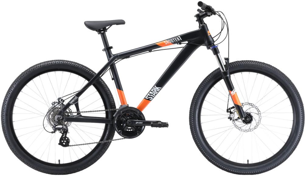 """Велосипед Stark Shooter 1 (2020) черный/белый/оранжевый 26""""/18"""""""