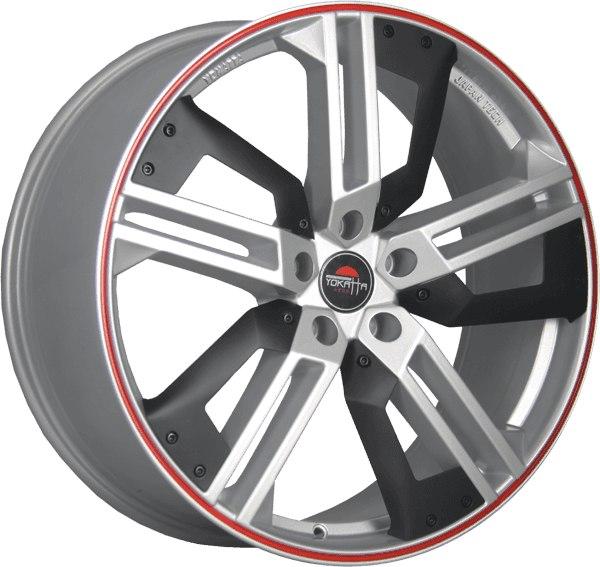 """Комплект дисков Yokatta Model-16 9jx20"""" 5/112 ET56 D66,6 S+Plastic+RS/серебристый + пластиковые вставки + красная полоса по ободу"""