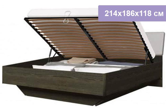 Двуспальная кровать Интердизайн Тоскано ясень темный/капучино 214x186x118 см (подъемный механизм)