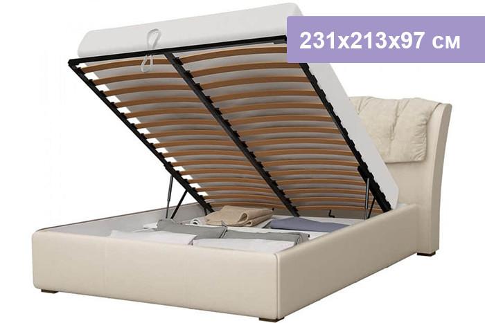 Двуспальная кровать Интердизайн Моника бежевый/бежевый 231x213x97 см (подъемный механизм)