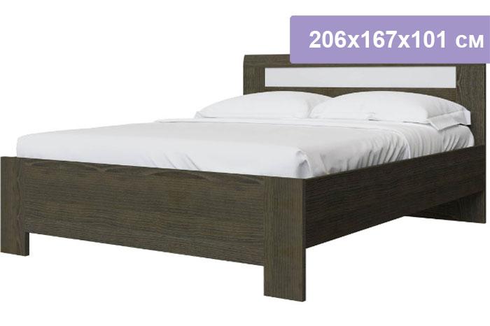 Двуспальная кровать Интердизайн Тоскано Лайт ясень темный/белый 206x167x101 см (ортопедическое основание)