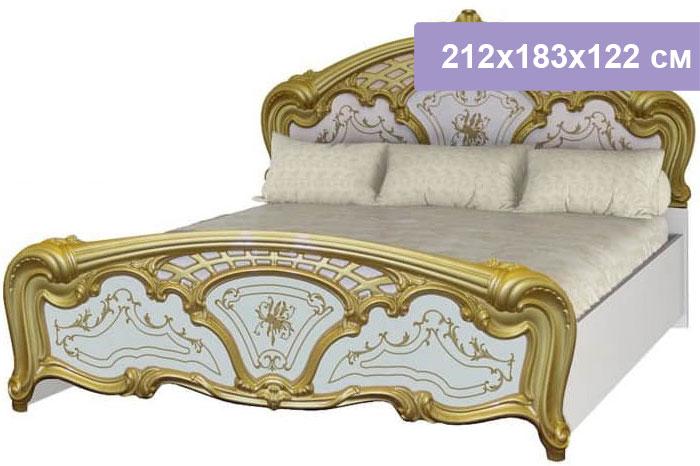 Двуспальная кровать Интердизайн Роза белый/золото 212x183x122 см (ортопедическое основание)