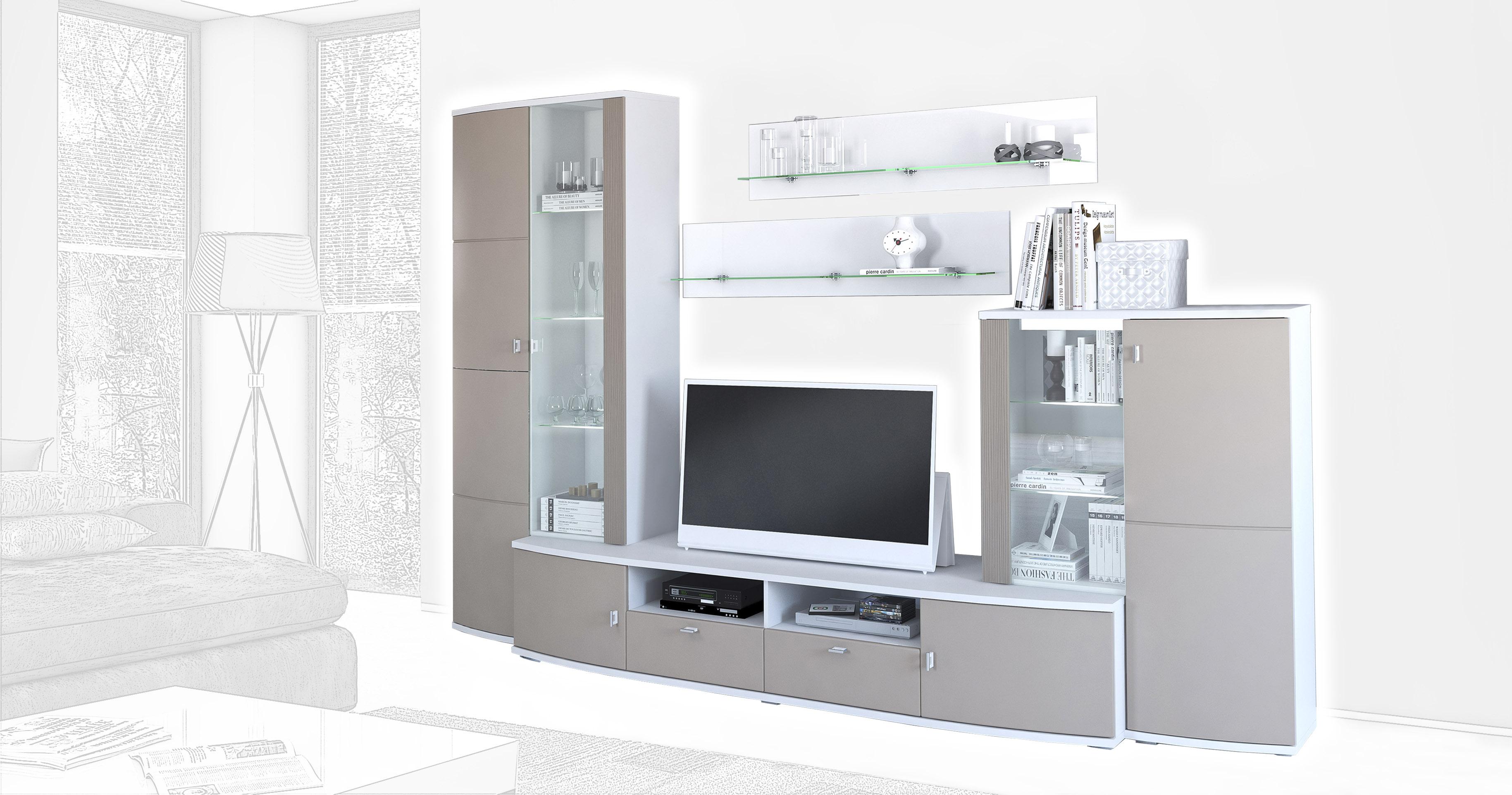 Стенка Интердизайн Монако белый/коричневый 202x298x55 см (композиция 3)