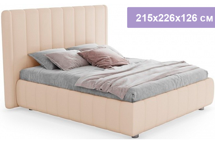 Двуспальная кровать Цвет Диванов Наоми песочный 215x226x126 см (подъемный механизм)