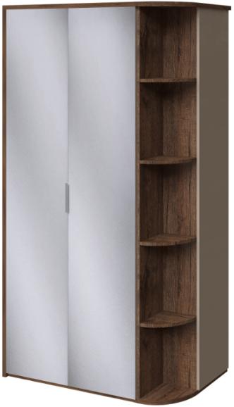Шкаф Интердизайн Тоскано темно-коричневый/коричневый 221x122x60 см (зеркала, стеллаж)
