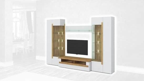 Стенка Интердизайн Дубай светло-коричневый/белый 1990x2900x500 (композиция 2)