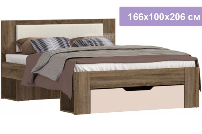 Двуспальная кровать Столплит Монако СБ-2324 дуб сонома трюфель/бежевый песок 166x100x206 см