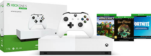Игровая приставка Microsoft Xbox One S 1Tb All Digital + Sea Of Thieves + Minecraft + Fortnite