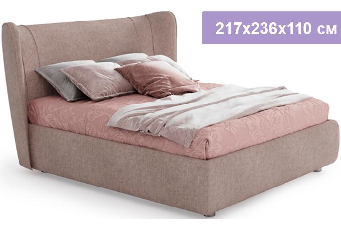 Двуспальная кровать Кровать Сантьяго песочно-серый 217x236x110 см
