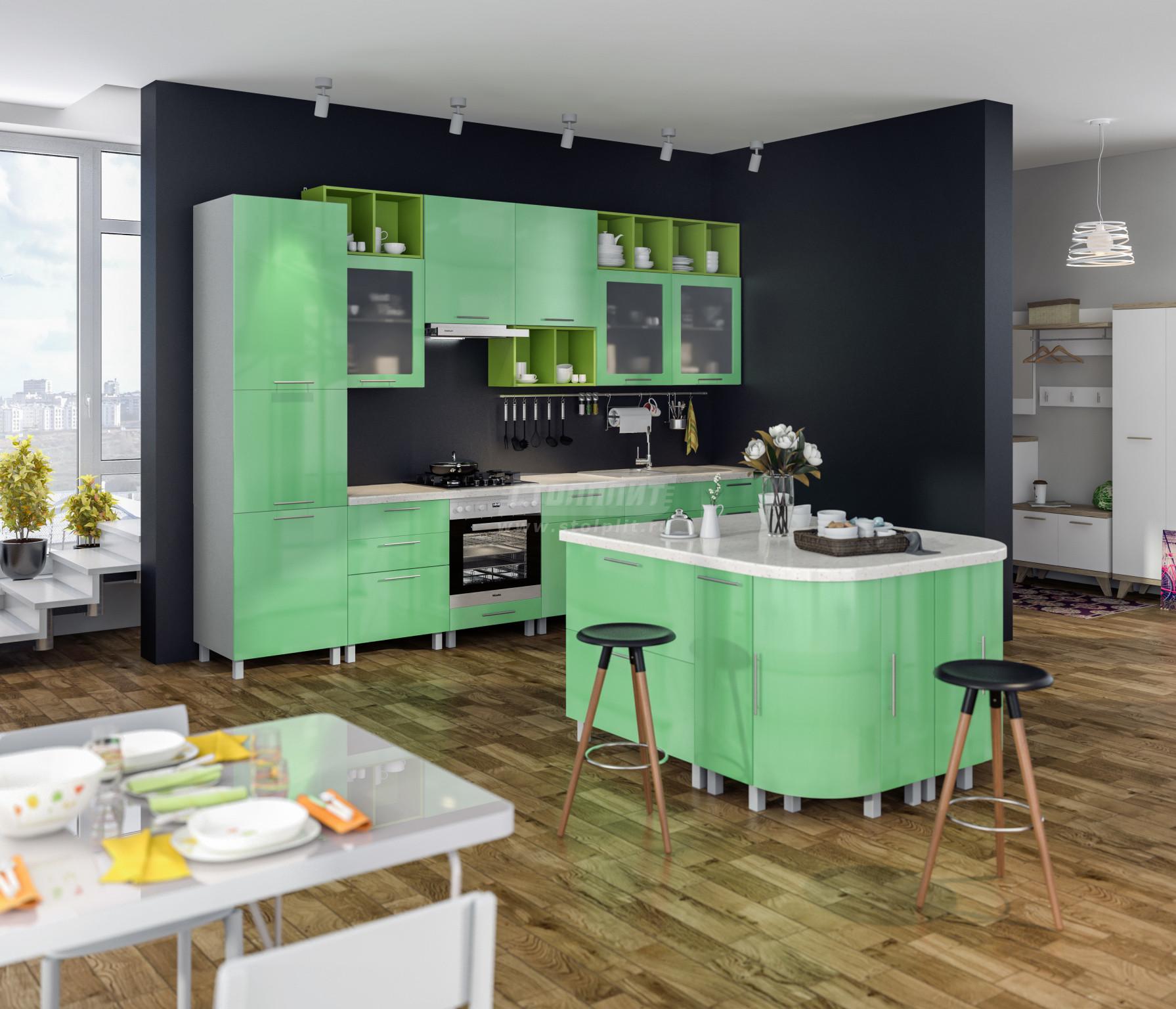 Кухня Столплит Анна L-3600 эвкалипт глянец  360 см