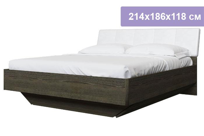 Двуспальная кровать Интердизайн Тоскано ясень темный/белый 214x186x118 см (ортопедической основание)