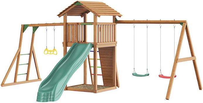 Игровой комплекс Jungle Gym Cottage + Rock + Swing + Рукоход (с гимнастическими кольцами)