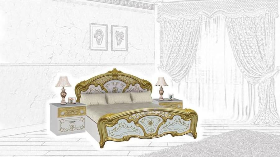Спальня Интердизайн Роза белый/золото (композиция 1)