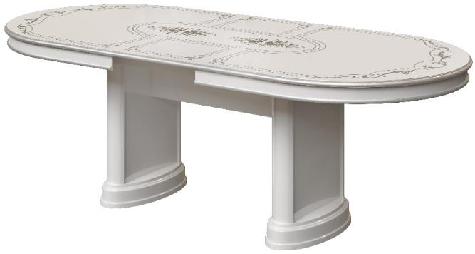 Кухонный стол Интердизайн Роза белый/серебро 76x232x104 см