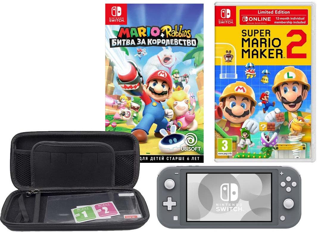 Игровая приставка Nintendo Switch Lite Grey + чехол + 2 игры
